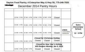 December 2014 hours for Dayton Food Pantry