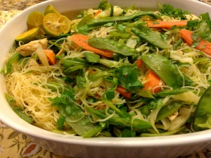 pancit with vermicelli and peas
