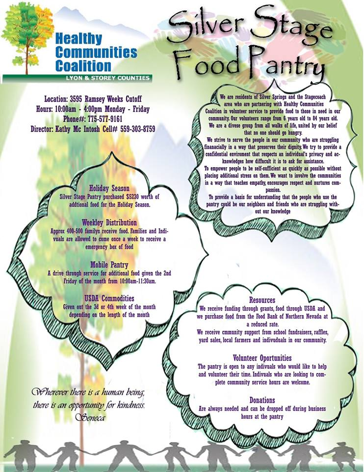 Silver Stage Food Pantry Hours and Location click on flyer to