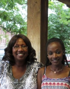Freida Carbery of Healthy Communities and Lilian Wambua of Kenya are shown here at a BBQ in Virginia City hosted by CCI and Turning Point for the 25 visiting Fellows