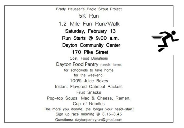eagle scout 5k food drive for pantry