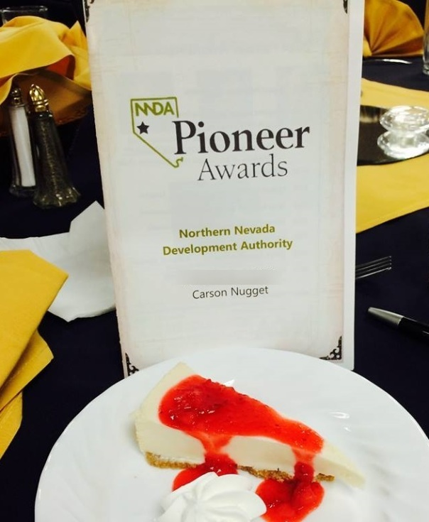 pioneer awards program and cake
