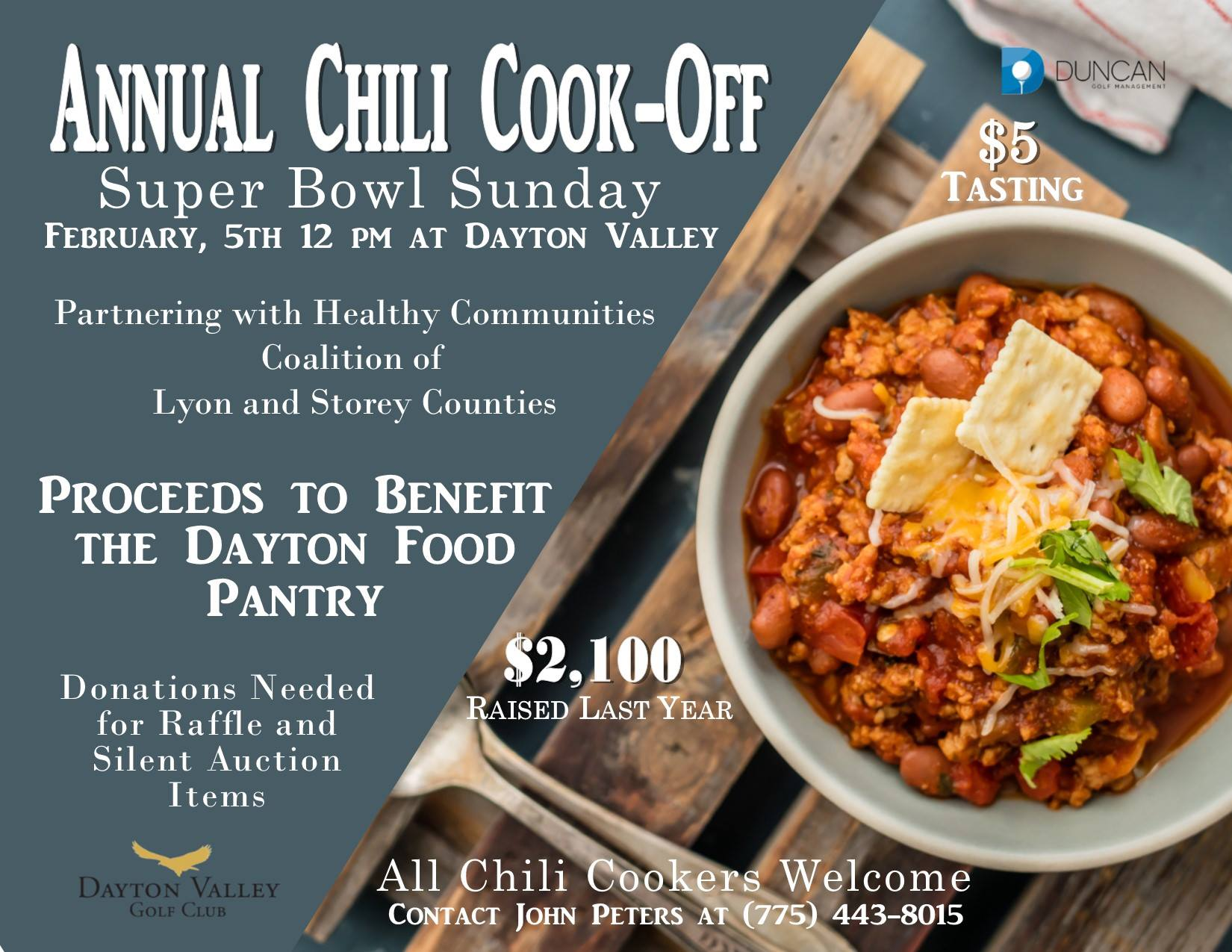 chili cookoff and superbowl party benefits food pantry