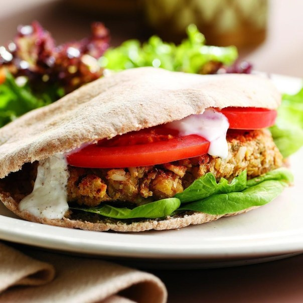 chickpea burgers on pita