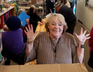 kathy at thanksgiving pantry line